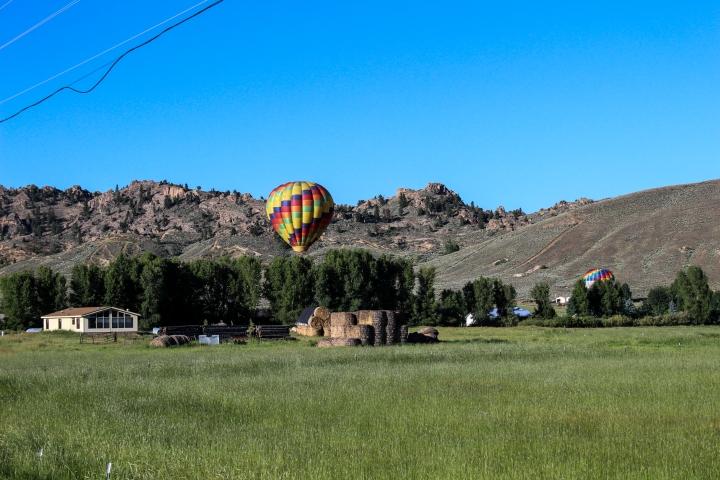 Balloon descending onto a field.