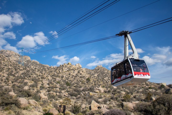 While waiting in line to get on the tram car, we watched another car start its trip up the mountain.
