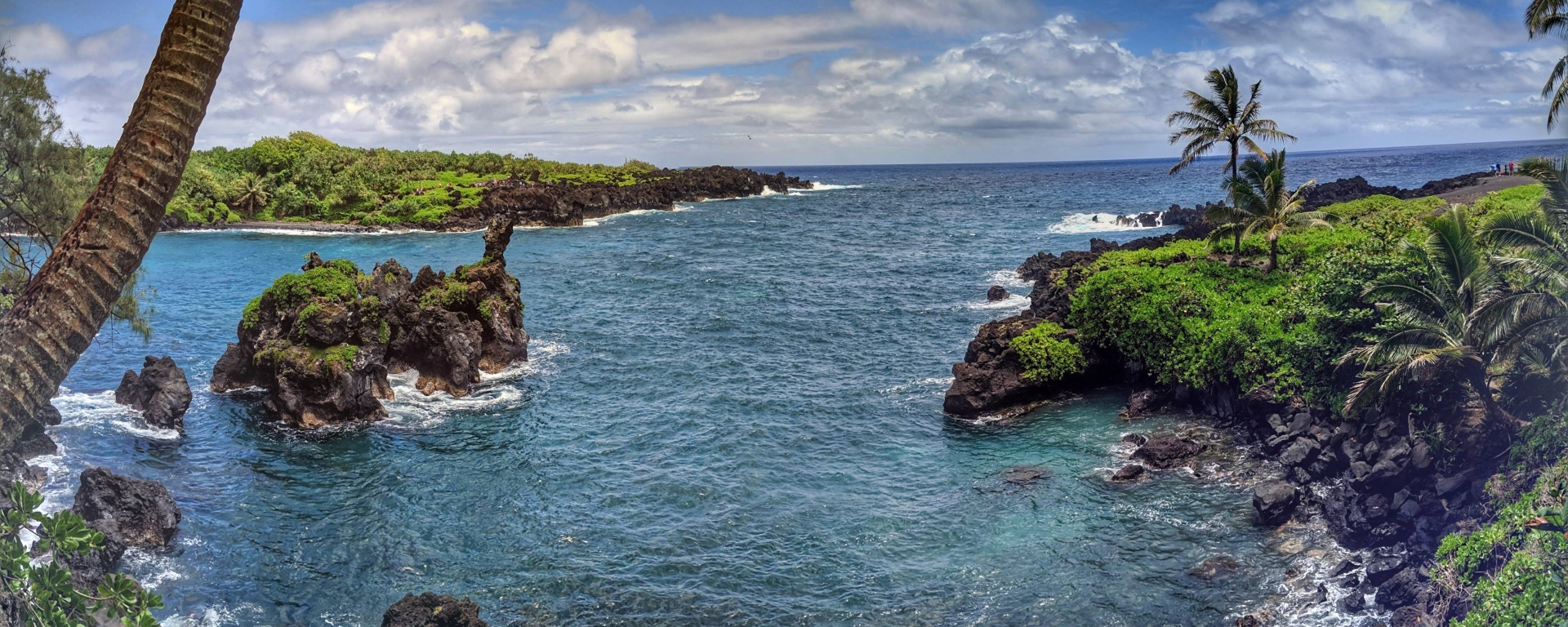 Stop 6 along the Road to Hana: Wai'anapanapa State Park.