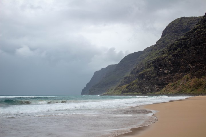 The Na Pali Coast just before another downpour of rain.