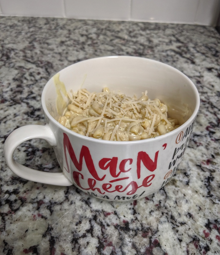Don't forget to sprinkle some vegan parmesan and eat out of your favorite mac n' cheese mug.