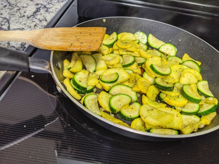 Sautéed Zucchini and Yellow Squash with spices.